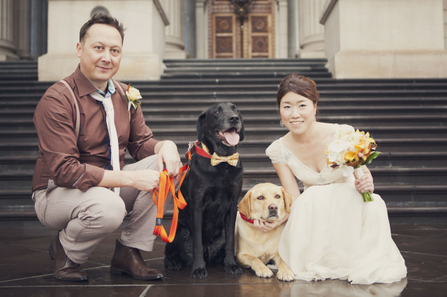 Happy family and their doggos — Photo by Rina Smile Photography