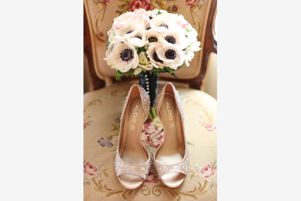 Shoes and Flower Bouquet from the Wedding Day