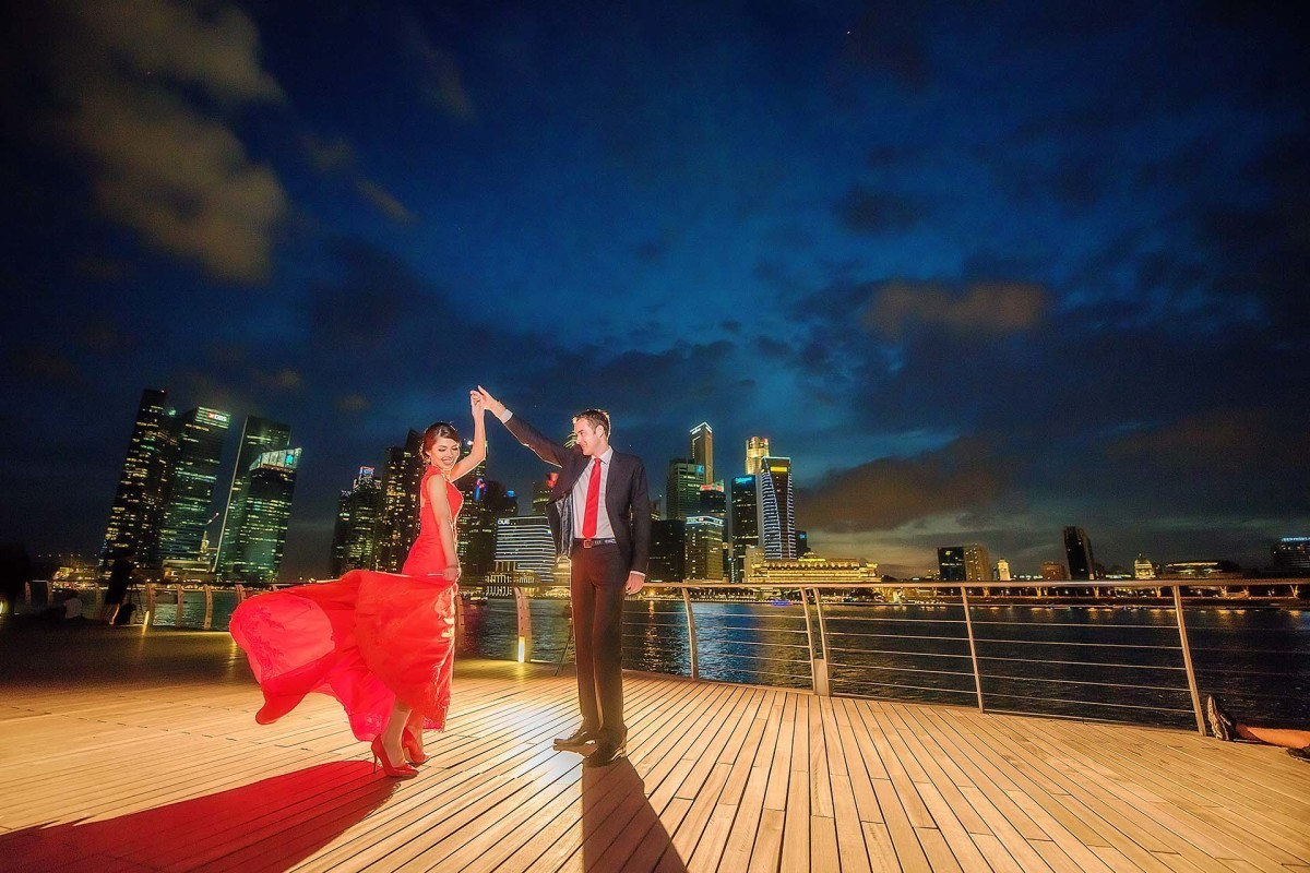 Wedding Photo Taken at the Merlion Park